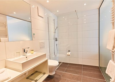 Badezimmer im Zirbenzimmer im Vital Hotel an der Therme Bad Windsheim