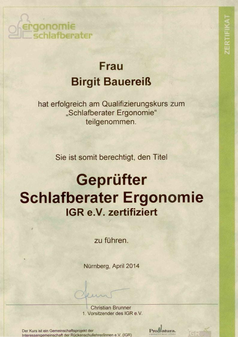 Zertifikat geprüfte Schlafberaterin Ergonomie Birgit Bauereiß