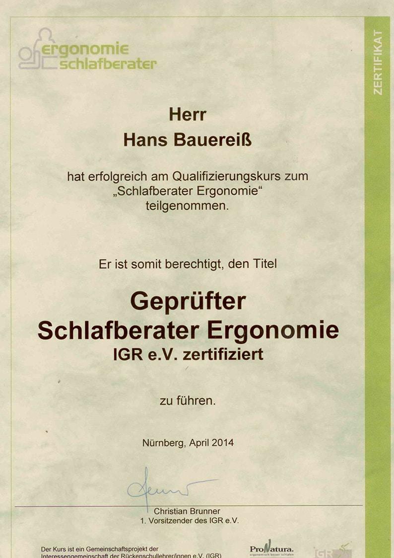 Zertifikat geprüfter Schlafberaterin Ergonomie Hans Bauereiß