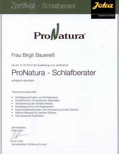 ProNatura Zertifikat Schlafberaterin Birgit Bauereiß