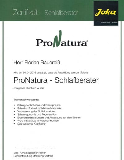 ProNatura Zertifikat Schlafberater Florian Bauereiß