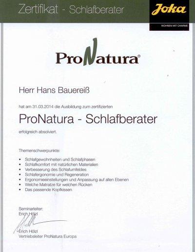 ProNatura Zertifikat Schlafberater Hans Bauereiß