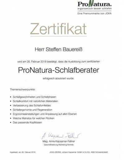 ProNatura Zertifikat Schlafberater Steffen Bauereiß