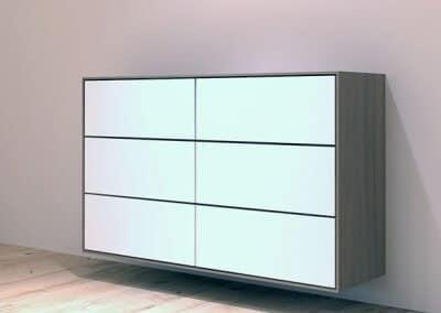 Nussbaum Sideboard mit Fenix weiß Fronten, grifflos mit Tip-On