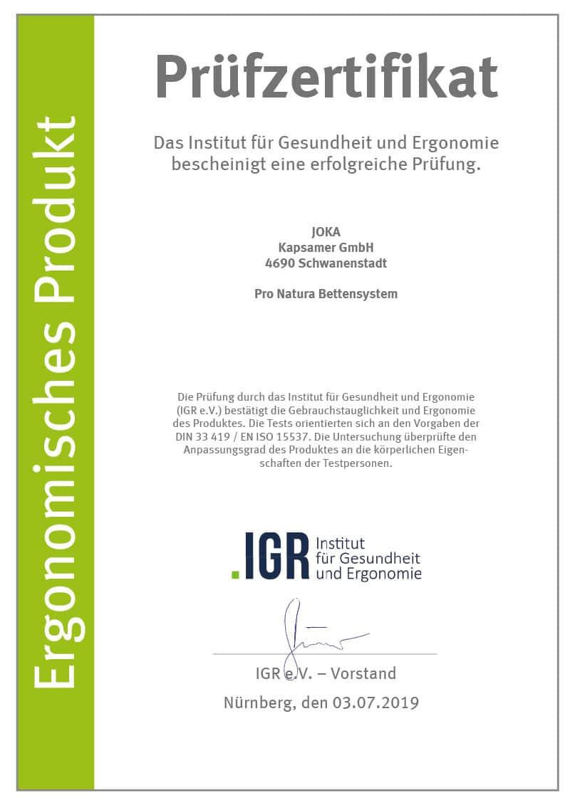 Prüfzertifikat Institut für Gesundheit und Ergonomie IGR für ProNatura Bettensystem