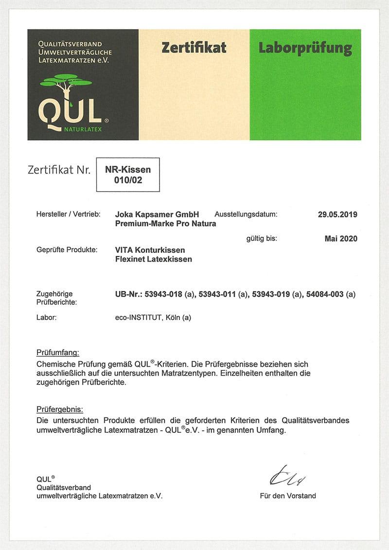 QUL-Zertifikat für VITA Konturkissen und Flexinet Latexkissen von ProNatura