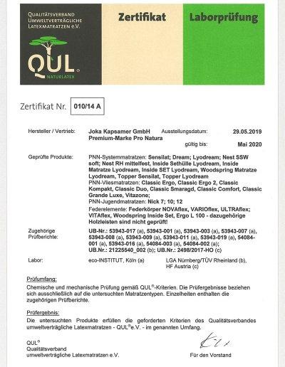 QUL-Zertifikat für Systemmatratzen und Federlemente von ProNatura