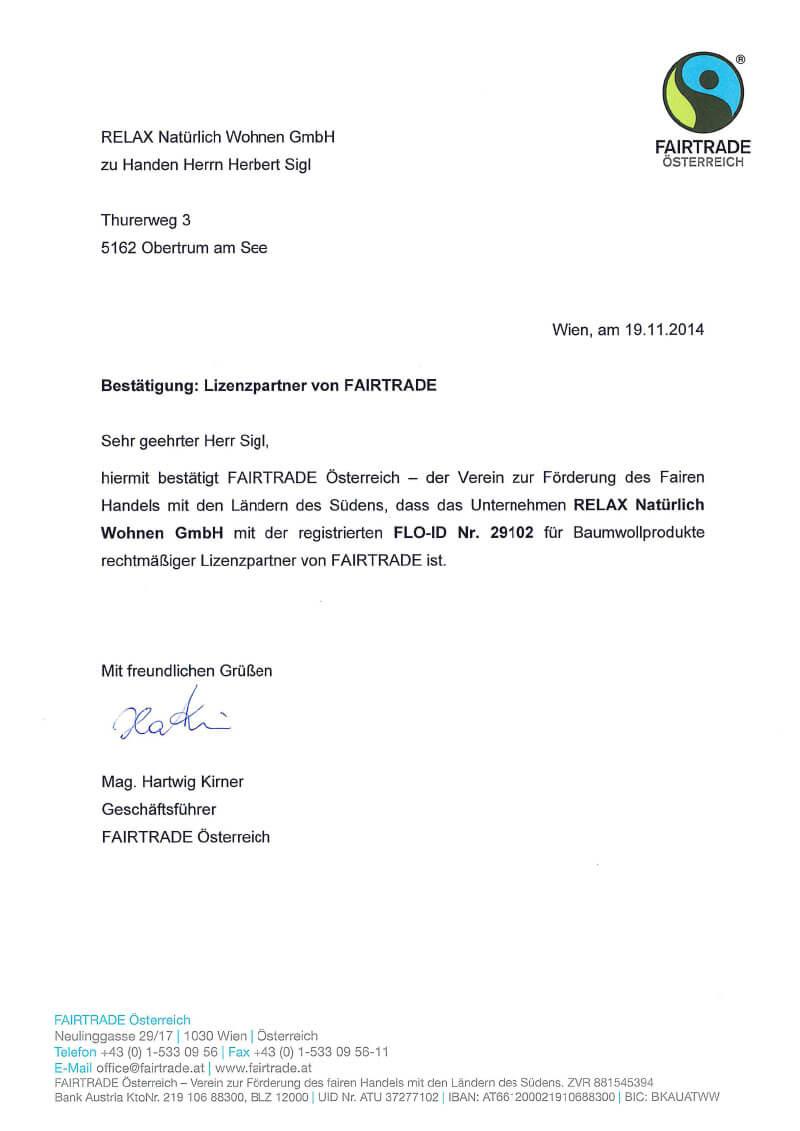 Fairtrade Zertifikat für Relax Produkte