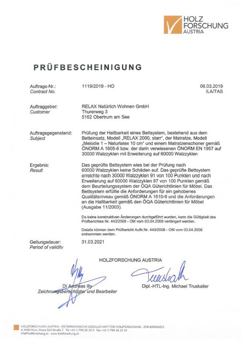 Prüfbescheinigung der Holz Forschung Austria für die Haltbarkeit der Relax 2000 Systeme