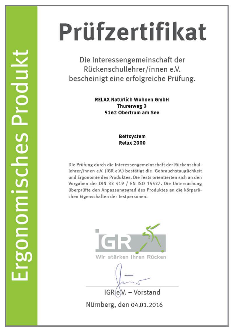 iGR Zertifikat für das Relax 2000 Bettsystem