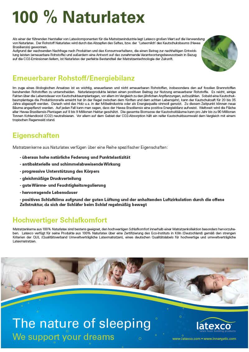 100% Naturlatex-Zertifikat von Letaxco