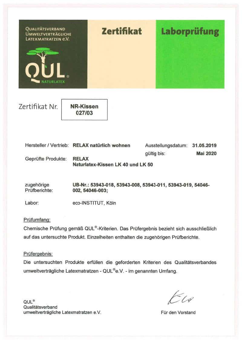 QUL-Zertifikat für Relax Kissen LK40 und LK50