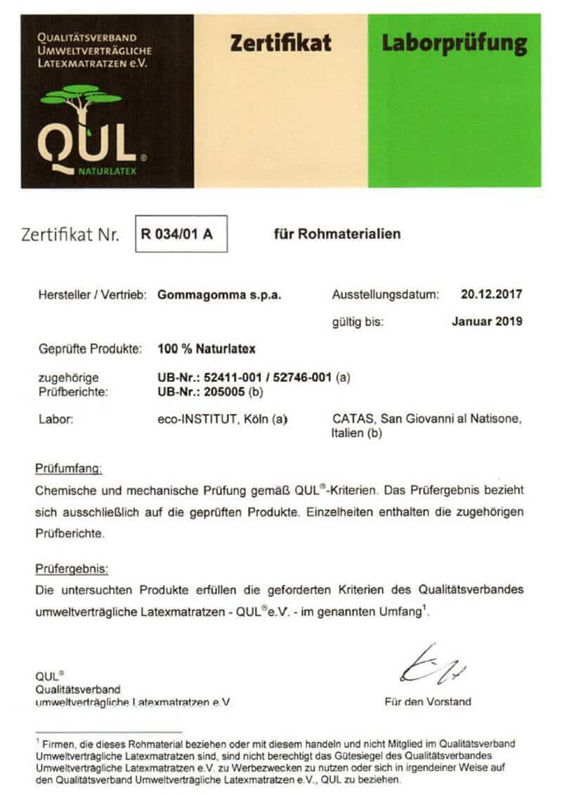 QUL-Zertifikat für Naturlatex