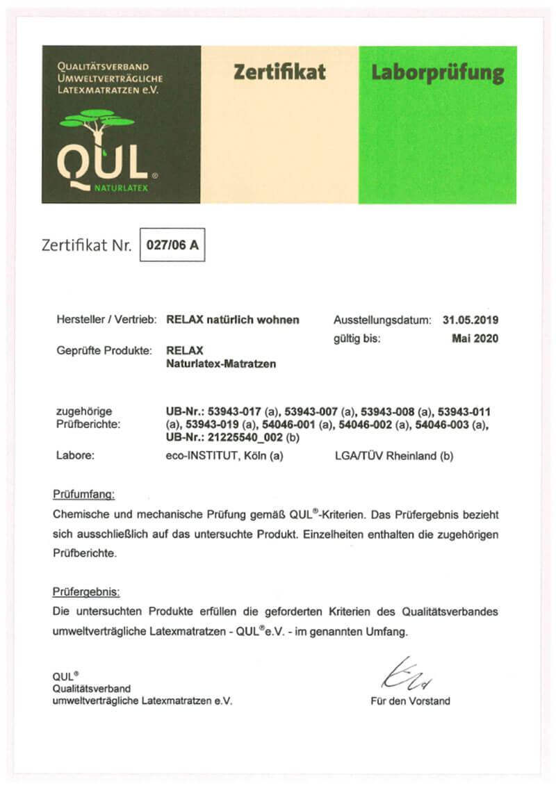 QUL-Zertifikat für Relax Naturlatexmatratzen