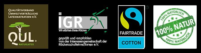 QUL-, iGR-Logo, Fairtrade-Logo und 100% Natürlich Signet