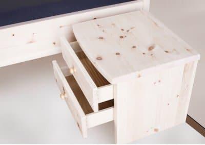 Nachttisch aus Zirbenholz mit zwei Schublade freistehend