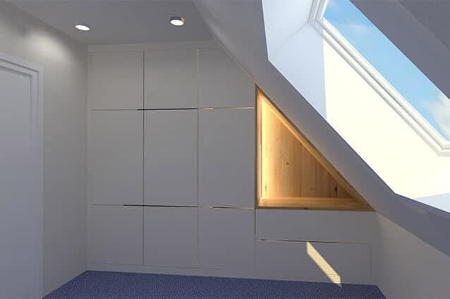 Einbaukleiderschrank in Fenix weiß, grifflos mit Tip-On und Nische aus Eiche mit LED-Beleuchtung
