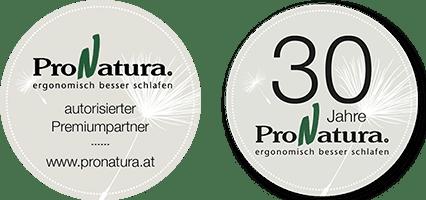 Logo für ProNatura zertifizierte Fachhändler und Button für 30 Jahre ProNatura Jubiläum