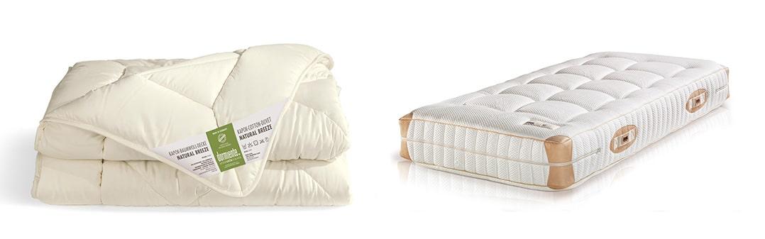 Natural Breeze Kapokdecke und Natural Deluxe Kapokmatratze von dormiente